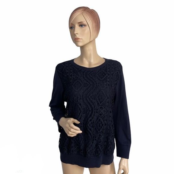 Ann Taylor Lace-front Pullover in Navy XL